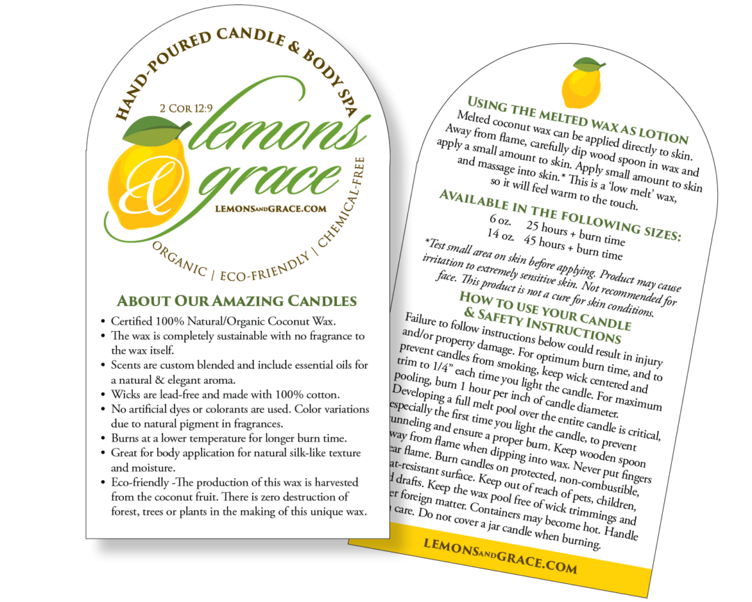 Lemons & Grace Instruction card