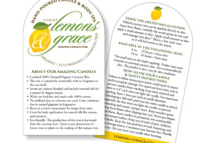 Lemons & Grace Instruction card