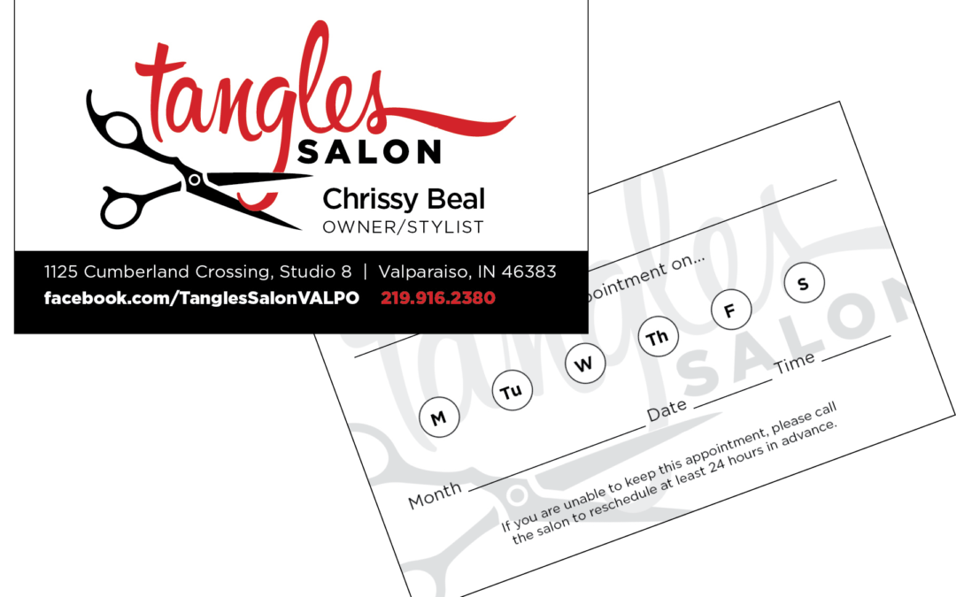Tangles Salon Business Cards