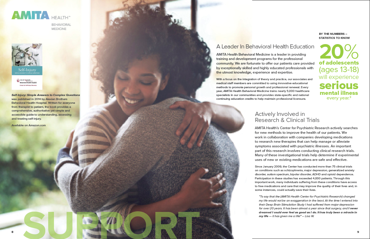 AMITA Health Behavioral Medicine Brochure Spread