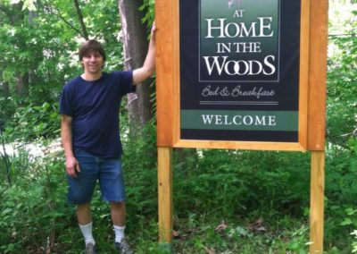 At Home in the Woods Bed & Breakfast Sign