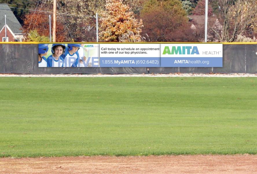 AMITA Health Baseball Fence Banner